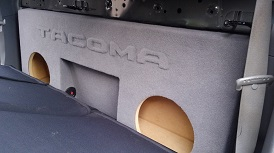 2005-2015 Toyota Tacoma Double Cab Dual 10 with Amp Space Subwoofer Box